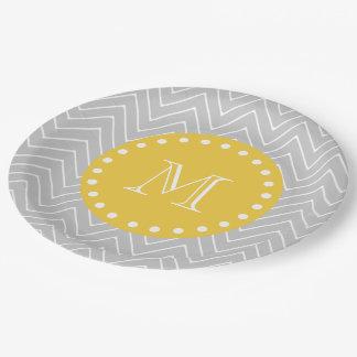 Gray & Yellow Modern Chevron Custom Monogram Paper Plate
