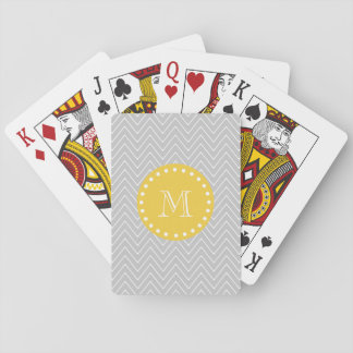 Gray & Yellow Modern Chevron Custom Monogram Playing Cards