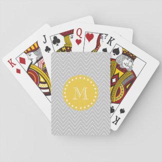 Gray & Yellow Modern Chevron Custom Monogram Playing Cards