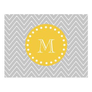 Gray & Yellow Modern Chevron Custom Monogram Postcard