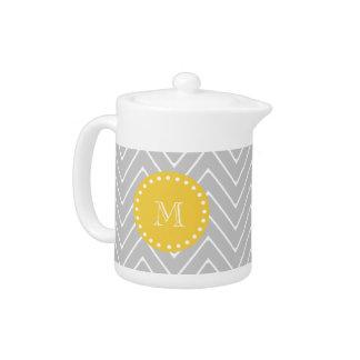Gray & Yellow Modern Chevron Custom Monogram