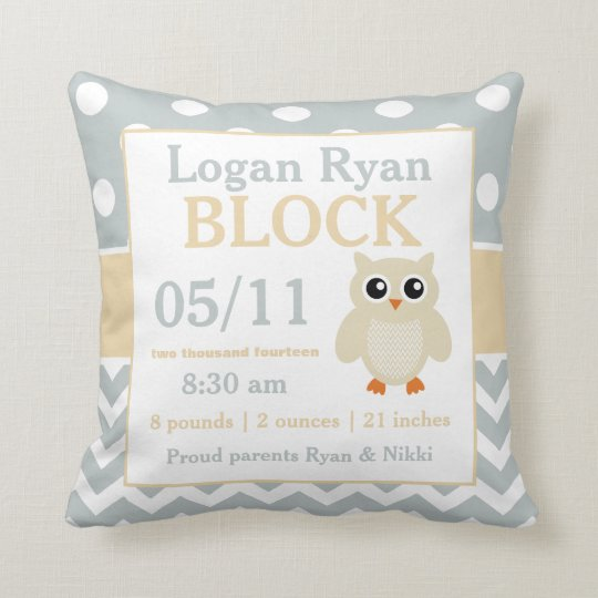 Gray Yellow Owl Baby Announcement Pillow