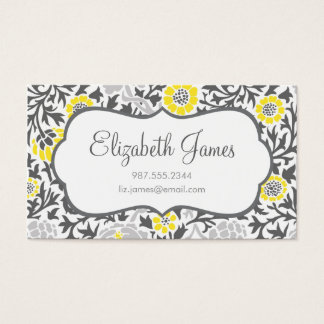 Gray & Yellow Retro Floral Damask Business Card