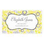 Gray & Yellow Retro Floral Damask Business Card Template
