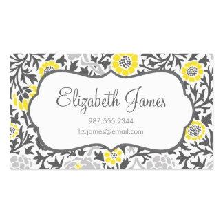 Gray & Yellow Retro Floral Damask Double-Sided Standard Business Cards (Pack Of 100)