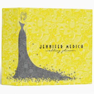 Gray & Yellow Wedding Dress & Vintage Lace Vinyl Binder