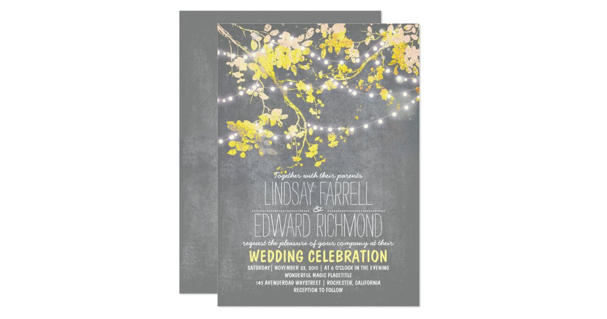 Yellow Grey Wedding Invitations: Gray Yellow Wedding Invitation With String Lights