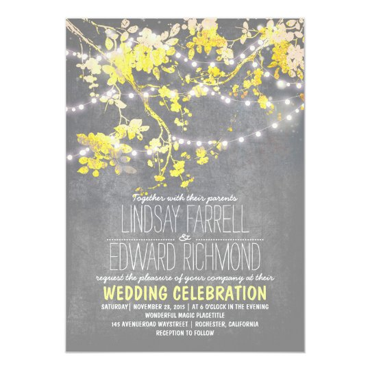 Awesome Gray Yellow Wedding Invitation With String Lights
