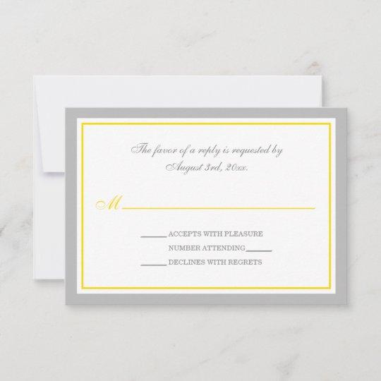 Gray Yellow Wedding Reception Rsvp Cards