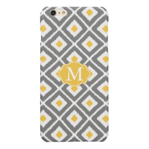 Gray, Yellow, White Ikat Diamond Pattern Glossy iPhone 6 Plus Case