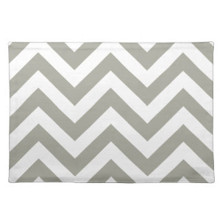 Gray Zig Zag Chevrons Pattern Cloth Placemat
