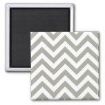 Gray Zig Zag Chevrons Pattern Refrigerator Magnet