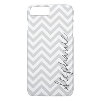 Gray Zigzag Chevron Pattern with Name iPhone 8 Plus/7 Plus Case