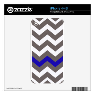 Gray Zigzag With Blue Striped Decal For iPhone 4