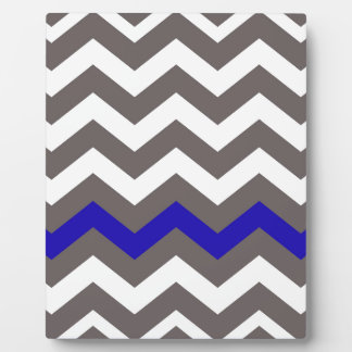 Gray Zigzag With Blue Striped Plaque