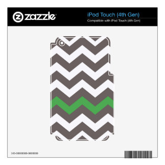 Gray Zigzag With Green Striped Decal For iPod Touch 4G