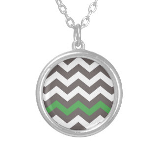 Gray Zigzag With Green Striped Silver Plated Necklace