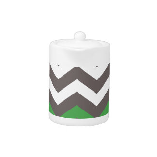 Gray Zigzag With Green Striped Teapot