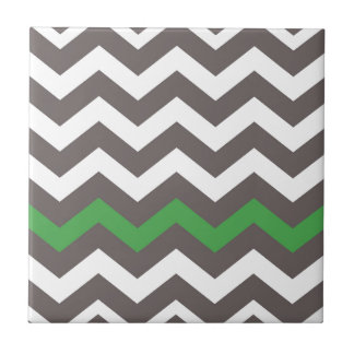 Gray Zigzag With Green Striped Tile