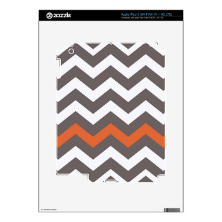 Gray Zigzag With Orange Striped Decals For iPad 3