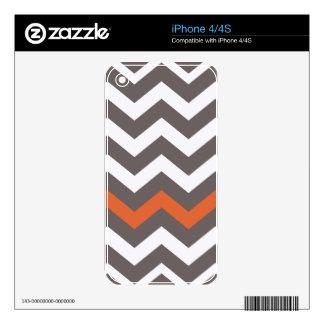Gray Zigzag With Orange Striped iPhone 4 Skins