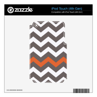 Gray Zigzag With Orange Striped iPod Touch 4G Skins