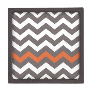 Gray Zigzag With Orange Striped Jewelry Box