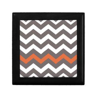 Gray Zigzag With Orange Striped Keepsake Box