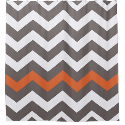 Classic Gray Border Monogrammed Shower Curtain Zazzle - Gray and orange shower curtain