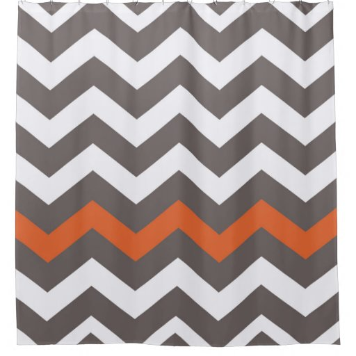 Gray Zigzags With Orange Accent Shower Curtain Zazzle