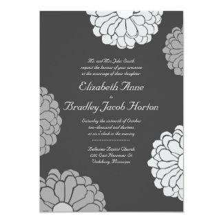 Gray Zinnia Flower Wedding Invitation