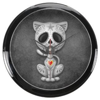 Gray Zombie Sugar Kitten Cat Aquarium Clock