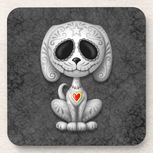 Gray Zombie Sugar Puppy Dog Beverage Coaster