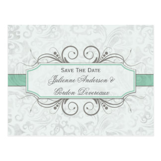 Grayed Jade and Gray Damask Save The Date Postcard