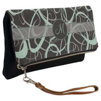 grayed jade and gray loops on black with monogram clutch