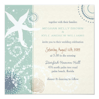 Grayed Jade Dusky Blue Beach Wedding Card