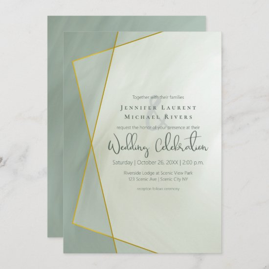 grayed jade geometric typography wedding invitation