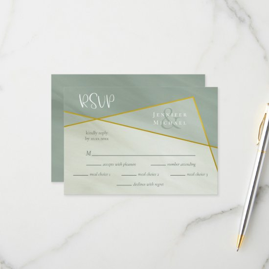grayed jade geometric typography wedding rsvp