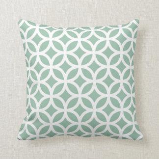 Grayed Jade Green Geometric Pillow