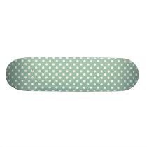 Grayed Jade Green Polka Dot Pattern Skateboard Deck