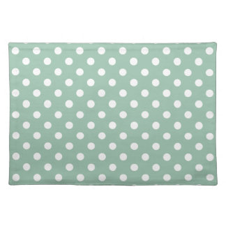 Grayed Jade Green Polka Dot Place Mat