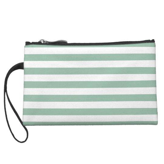 Grayed Jade Green Stripes Pattern Wristlet