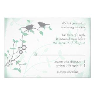 Grayed Jade Grey Birds Wedding RSVP Reply Card