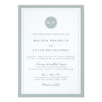 Grayed Jade Monogram Wedding Invitation