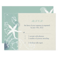 Grayed Jade n Ivory Starfish Beach Wedding RSVP Card