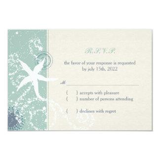 Grayed Jade n Ivory Starfish Beach Wedding RSVP Card