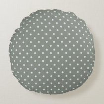 Grayish Teal Polka Dot Round Pillow