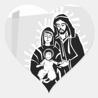Grayscale Baby Jesus, Mary and Joseph Wedding Hear Heart Sticker