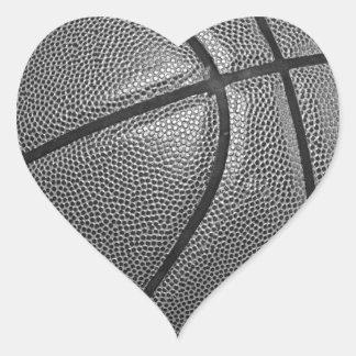 Grayscale Basketball Heart Sticker