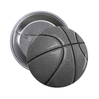 Grayscale Basketball Pinback Buttons